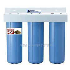 "TRIPLE BIG BLUE 20'' WATER FILTER SYSTEM 1"" Sediment/Carbon block/KDF55-GAC"