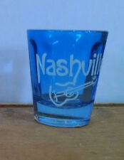 Nashville Shot Glass - Blue Glass w/ Guitar