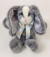 "Aurora Gray White Bunny Bow Large 14"" Plush Soft Stuffed Animal Easter Bunny Toy"