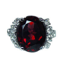 Vintage 8ct Rhodolite Garnet Old European Diamond Ring Platinum Heavy Estate