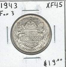 Canada 1943 Silver 50 Cents EF45 - Die Cracks in VI D - Far 3