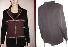 Misook Black Chocolate Melange Color-Block Button Front Knit Jacket M