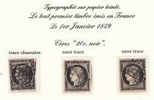 3 Timbres de France classique, Cérès n°3 A - B - C Oblitérés