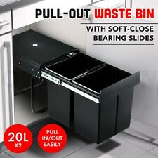 2x 20L Pull Out Trash Bin Kitchen Garbage Waste Basket Under Sink Rubbish