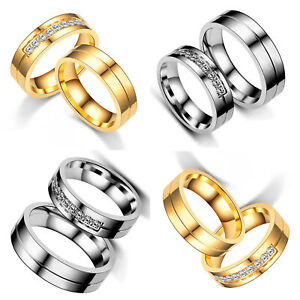 Fashion Stainless Steel Men Women Gold Siver CZ Pave Couple Rings Wedding Band
