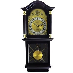 "BEDFORD CLOCK 26"" ANTIQUE MAHOGANY CHERRY OAK GRANDFATHER CHIMING WALL CLOCK"