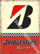 Vintage Garage Bridgestone Tyres 153 Racing Motor Car Old, Medium Metal/Tin Sign
