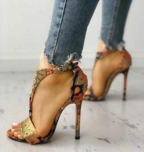 Women sexy open Toe T-strap Buckle High Heels Stiletto Sandals floral Shoes part