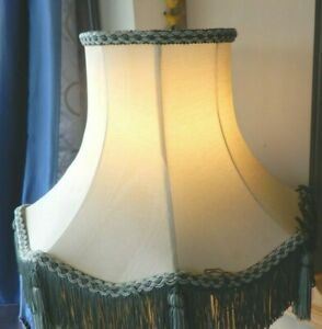 VINTAGE PALE GREEN LAMPSHADE & CARRIER TRIM FRINGE TASSELS 10IN HIGH LINED USED