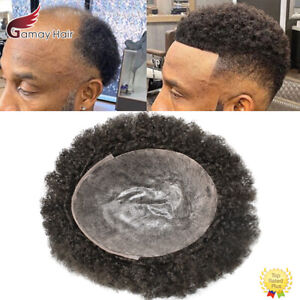 Afro Curl Mens Toupee Full Poly Skin Pu African American Hair System Replacement