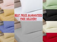 Flat Bed Sheets Non Iron Percale Single Double King & Superking  ~ FREE P&P ~