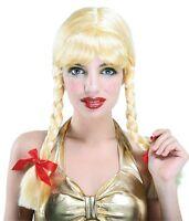 Plaited Pigtail Blonde School Girl Heidi Helga Fancy Dress Wig NEW P5772