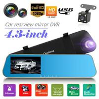 "4.3"" HD 1080P Rear View Dual Lens Car DVR Camera Reversing Video Recorder"