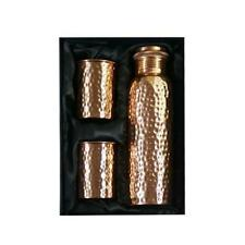 New Hammered Pure Copper Leak Proof 1000 Ml Water Bottle With Set Of 2 Glass