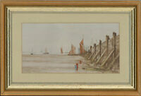Framed Mid 20th Century Watercolour - Coastal Groin with Fishing Boats