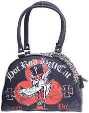 Hotrod Hellcat RED BARON Leopard Bowler Bag / TASCHE Rockabilly