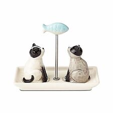 Cats with Fish Salt & Pepper Shakers Enesco Gift NIB