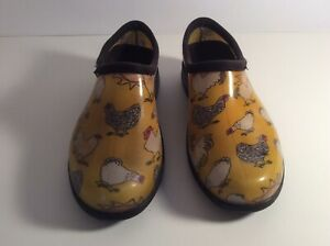 Sloggers Womens Garden And Rain Shoes Size 8 Yellow Hen Chicken Print