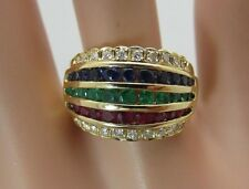 18K Yellow Gold Ruby Emerald Sapphire Diamond Ring Band