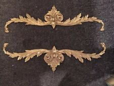 "Antique Brass Pediment Center mount Garlands Cabinet Frame Mount 16.5"" REDUCED"