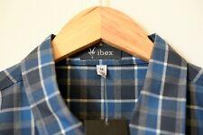 Ibex Bromely Merino Button Down Shirt, Men's Medium, Blue/Gray Plaid, Wool