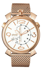 More details for gagà milano thin chrono 46mm unisex watch white dial rose gold