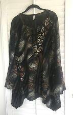 Womens Brown Long Flared/Bell Sleeves Asym Tunic Top Yummy Jr Plus Size 2X