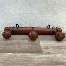 French VINTAGE Wood COAT Racks 3 pegs FAUX BAMBOO Style 1606201