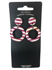Drop Purple & White Candy Stripe Plastic Hoop Earrings 70's 80's Fancy Dress