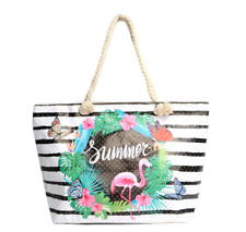 Flamingo Stripe Grocery Rhinestone Tote Purse Large Rope Bag Rope Handle Beach