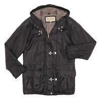 Vintage BRAEFAIR Leather Jacket Medium Womens Fireman Buckle Duffle Hooded Coat