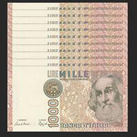 Lot 10 PCS, Italy 1000 1,000 Lire, 1982, P-109, UNC