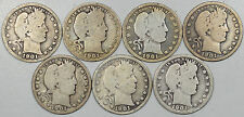 1901 BARBER QUARTERS, LOT OF 7 - NICE CIRCULATED LOT OF GOOD EXAMPLES!