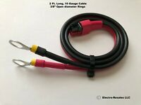 "10 Gauge 2 foot cable with 3/8""  Battery Rings plug fits Anderson Powerpole"