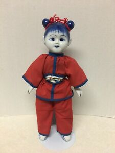 """Oriental Porcelain  Blue White and Red Decorative Doll 13""""Tall"""