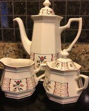 "ADAMS English Ironstone ""Anita"" 9.5"" Coffee, Sugar and Creamer England 1985-1988"