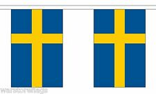 More details for sweden flag bunting 9 metres 30 flags polyester cloth stockholm swedish malmo