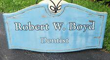 "Vintage Weathered Solid Wood Merchant Sign Dentist Blue Scrollwork 40""×21""×1.75& #034;"