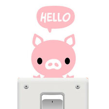 Cute Pink Hello Pig Switch Wall Window Sticker PVC Art Decal Home Decor