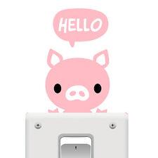 Cute Pink Hello Pig Switch Wall Window Sticker PVC Art Decal Home Decor