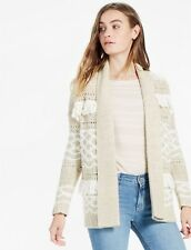 LUCKY BRAND FRINGE CARDIGAN SIZE L NWT$99 NATURAL/WHITE