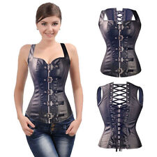 Gothic Corset Female Steampunk Bustier Body Shaper Leather Cincher Basque S-6XL