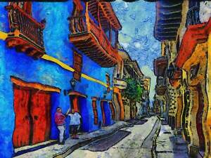 PAINTING STREET CARTAGENA COLUMBIA COLONIAL BUILDING POSTER ART PRINT BB1625A