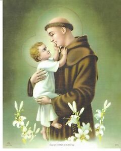 """Catholic Print Picture St. Anthony Padua Baby Jesus 8x10"""" ready to be framed"""