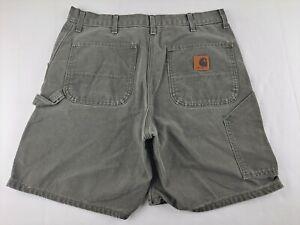 Carhartt Men 36 Faded Olive Green Denim Carpenter Cargo Shorts (34 X 7.5) Casual