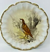 ANTIQUE LIMOGES J & B  BIRD PLATE GOLD SCALLOPED EDGE ARTIST SIGNED LUC 9 1/2""