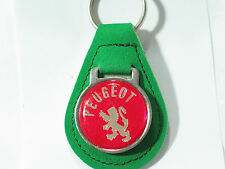 Peugeot Keychain, Key Fob, Vintage Suede , (1) keychain Green