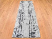 "2'7""x8' Pure Silk With Oxidized Wool DA CANE HandKnotted Runner Rug G44246"