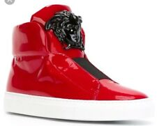 AUTHENTIC VERSACE RED PATENT LATHER BLACK/BIG MEDUSA PALAZZO HIGHTOP SNEAKERS 40