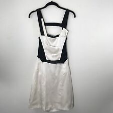 Helmut Lang Harness Dress Backless Sleeveless 100% Silk Cream Black Size 2